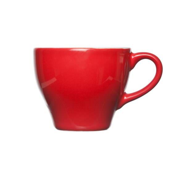 Bekijk de Barista Koffie Kop Rood 15cl. Kop en schotels