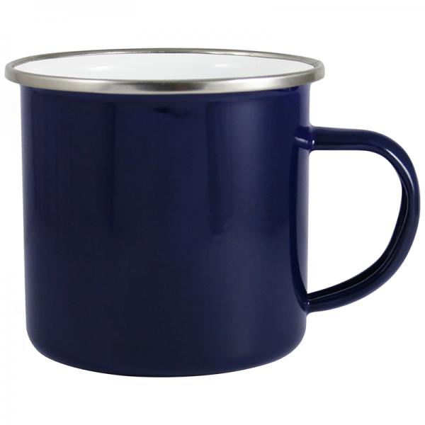 Emaille retro mok blauw 30 cl. bedrukken