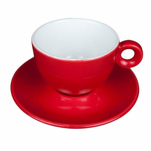 Bekijk de Bola Cappuccino rood-roomwit 20 cl. SET Kop en schotel Sets