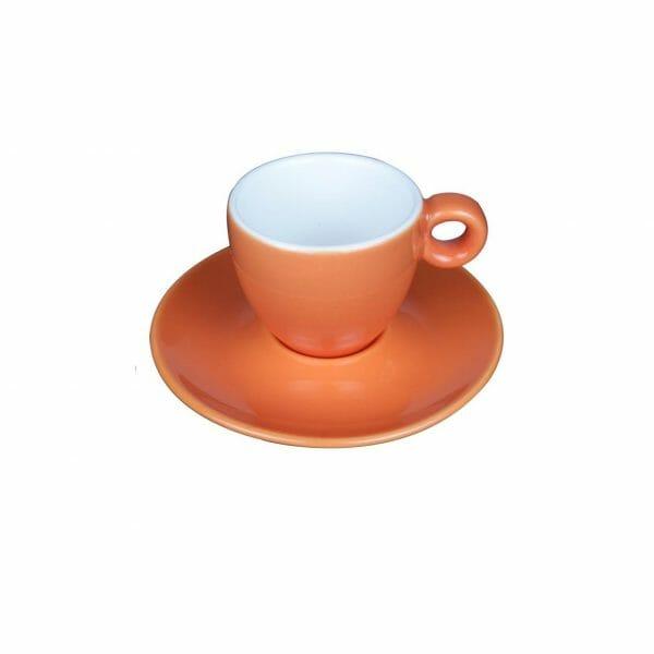 Bekijk de Bola Espresso oranje-roomwit 8 cl. SET Kop en schotel Sets