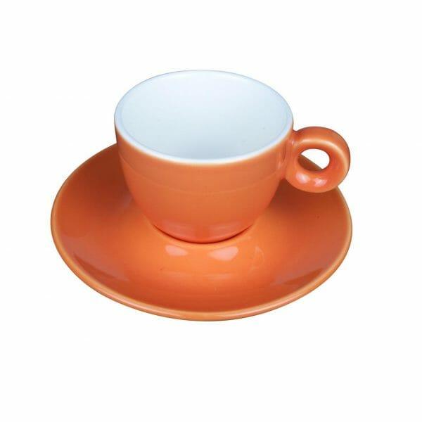 Bekijk de Bola Koffie oranje-roomwit 15 cl. SET Kop en schotel Sets