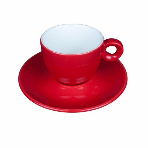 Bekijk de Bola Koffie rood-roomwit 15 cl. SET Kop en schotel Sets