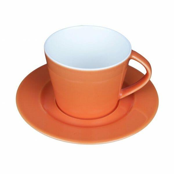 Bekijk de Eva Koffie oranje-roomwit 20 cl. SET Kop en schotel Sets