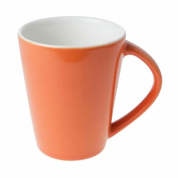 Bekijk de Eva mok oranje-roomwit 25 cl. Mokken