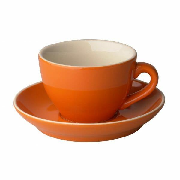 Bekijk de Robusta Cappuccino oranje 20 cl.SET Kop en schotel Sets