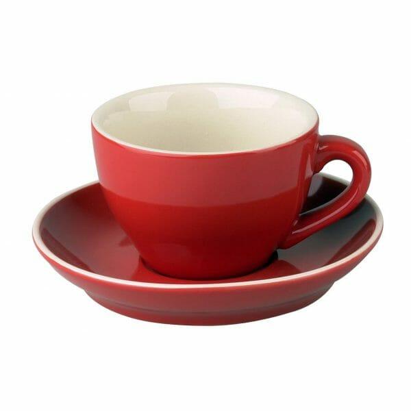 Bekijk de Robusta Cappuccino rood 20 cl.SET Kop en schotel Sets