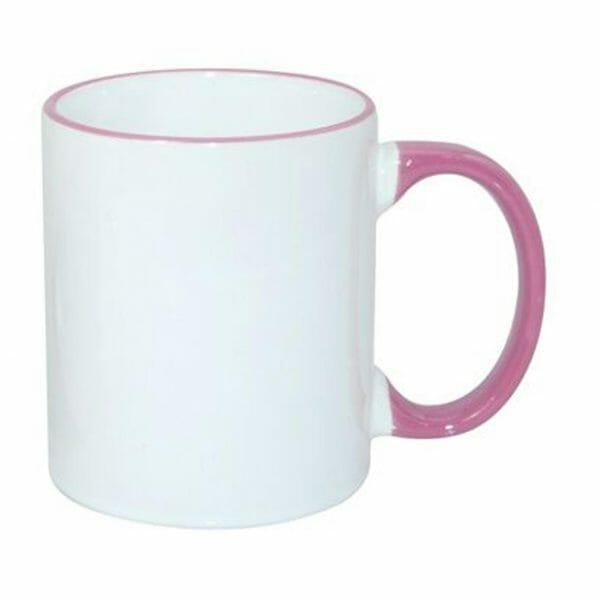 Bekijk de Sublimok gekleurde rand+oor roze 25 cl. Sublimatie artikelen